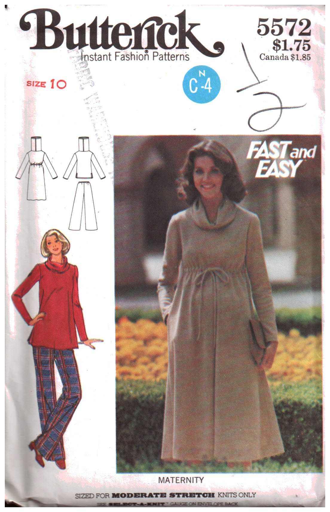 d140dc8d1d92e Butterick 5572 Maternity Dress, Top, Pants Size: 10 Uncut Sewing Pattern