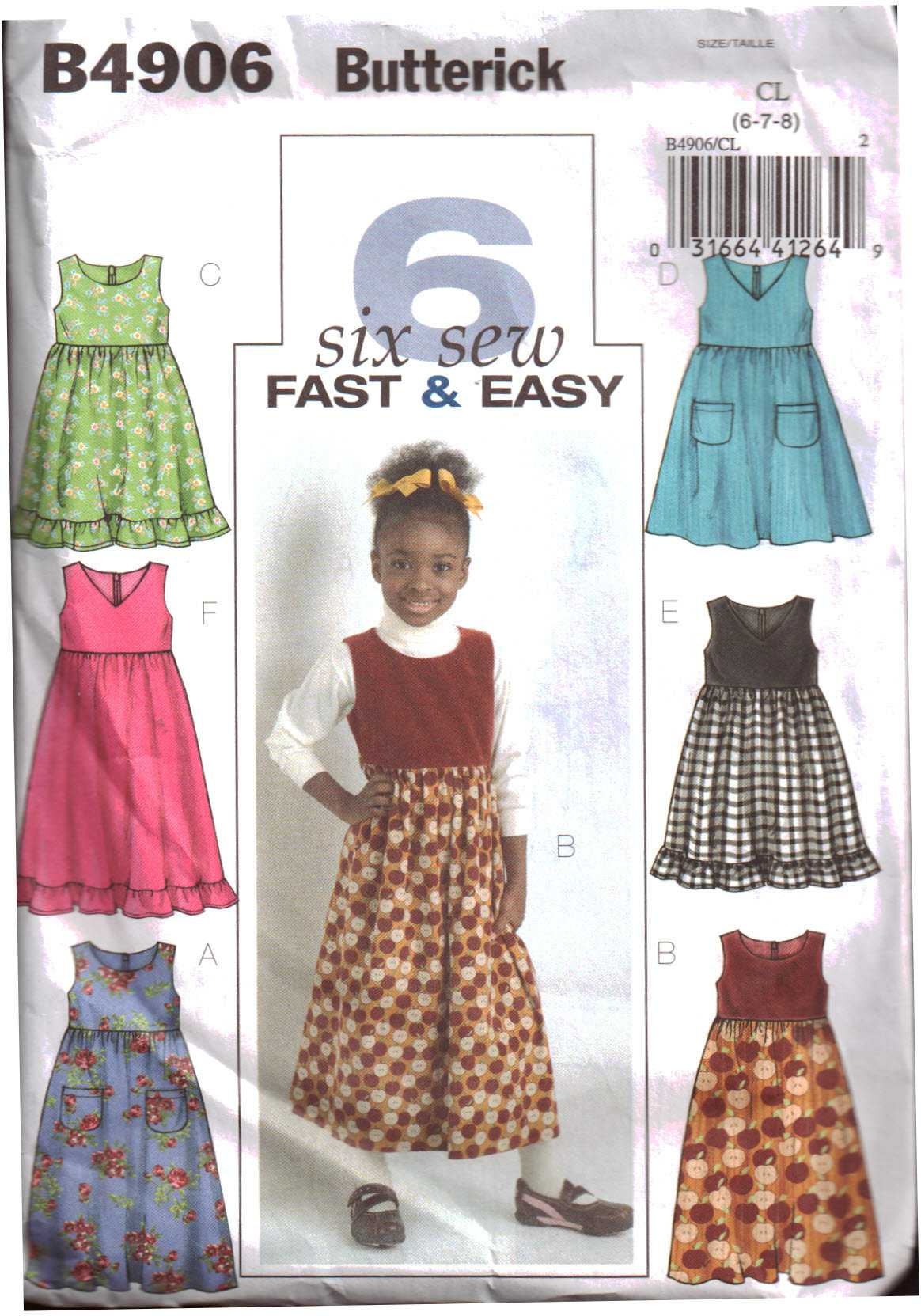 cd1a09648a84 Butterick B4906 Girls Jumper Size: CL 6-7-8 Used Sewing Pattern