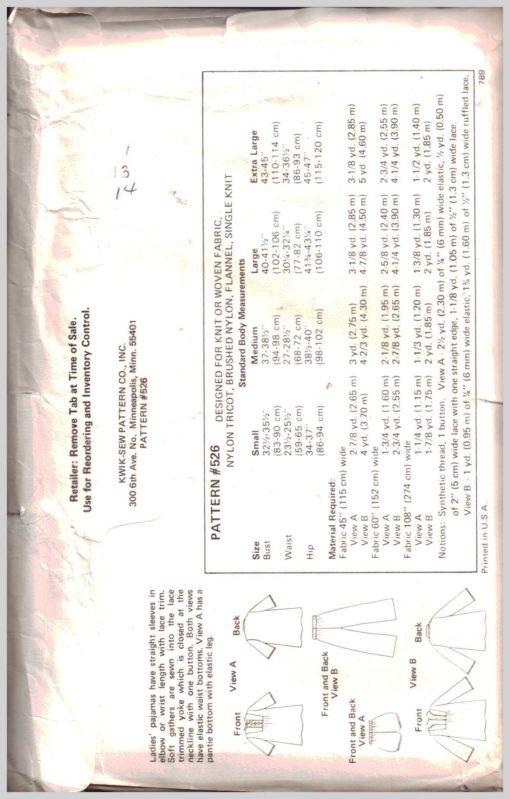 Kwik Sew 526 Y 1