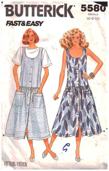 05a8e291208c Butterick 5580 Dresses, Tops Size: 6-8-10 Used Sewing Pattern