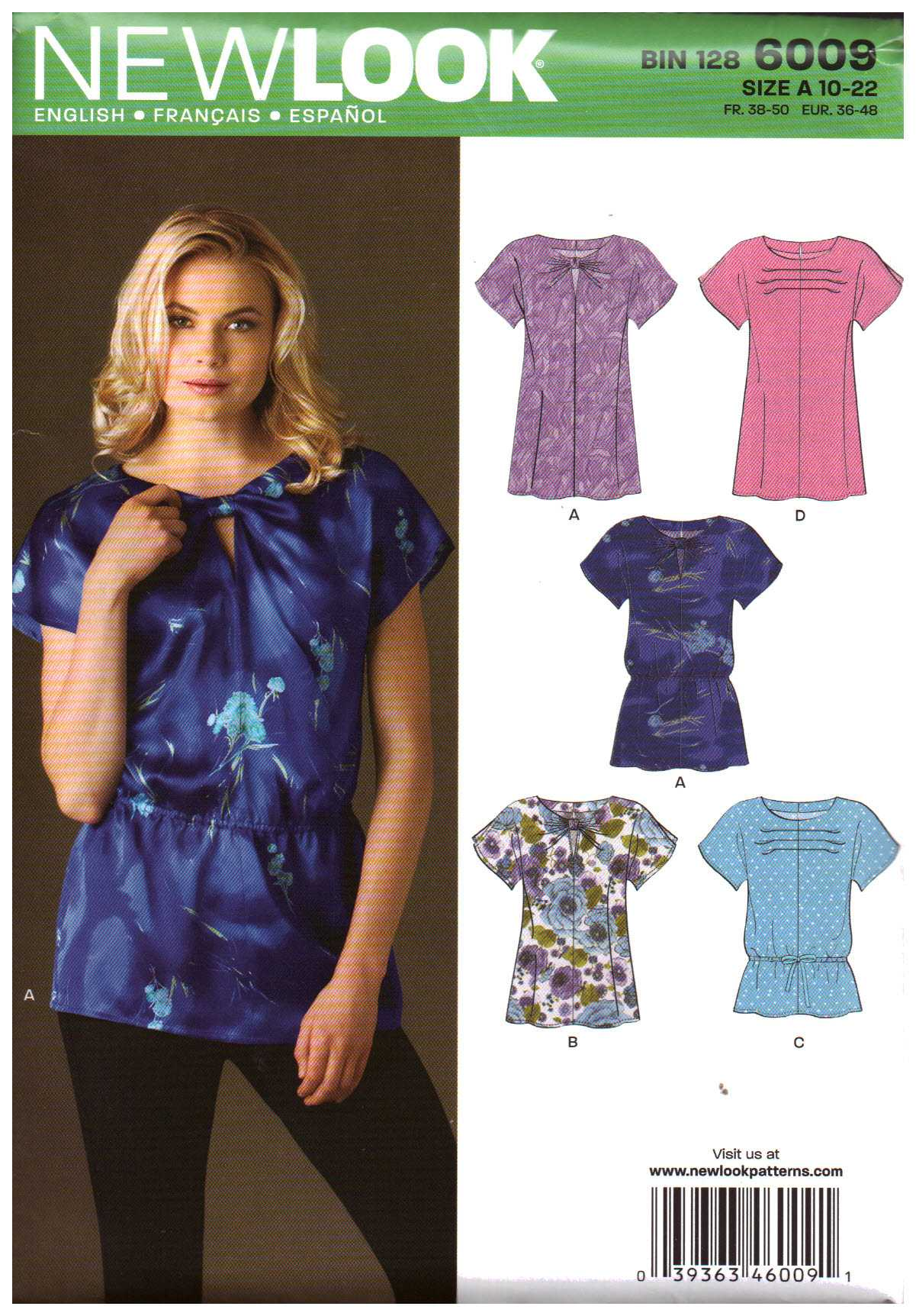 81c937e7171 New Look 6009 Top Size: A 10-22 Uncut Sewing Pattern