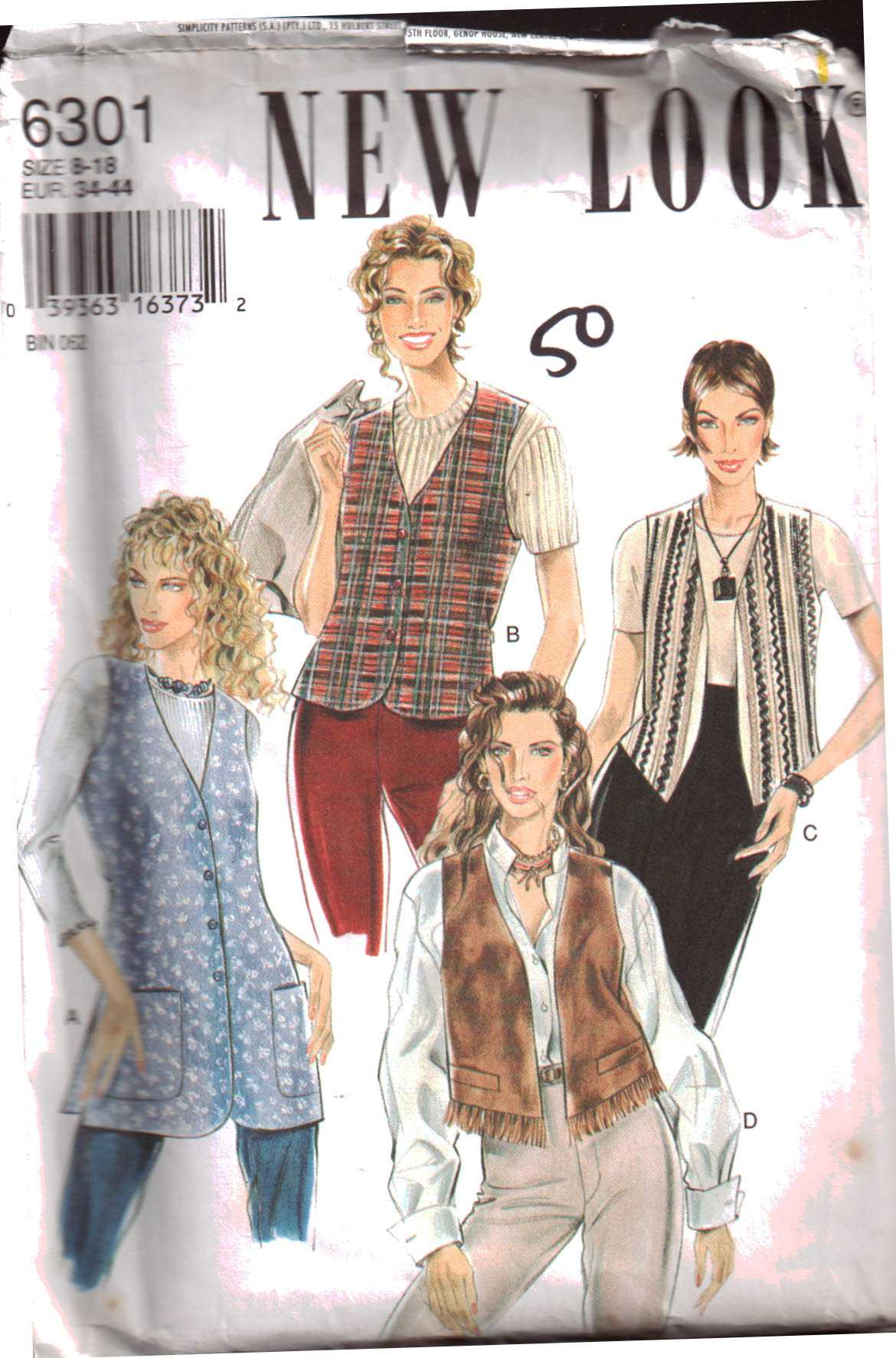 New Look 6301 Misses' Vests Size: 8-18 Uncut Sewing Pattern