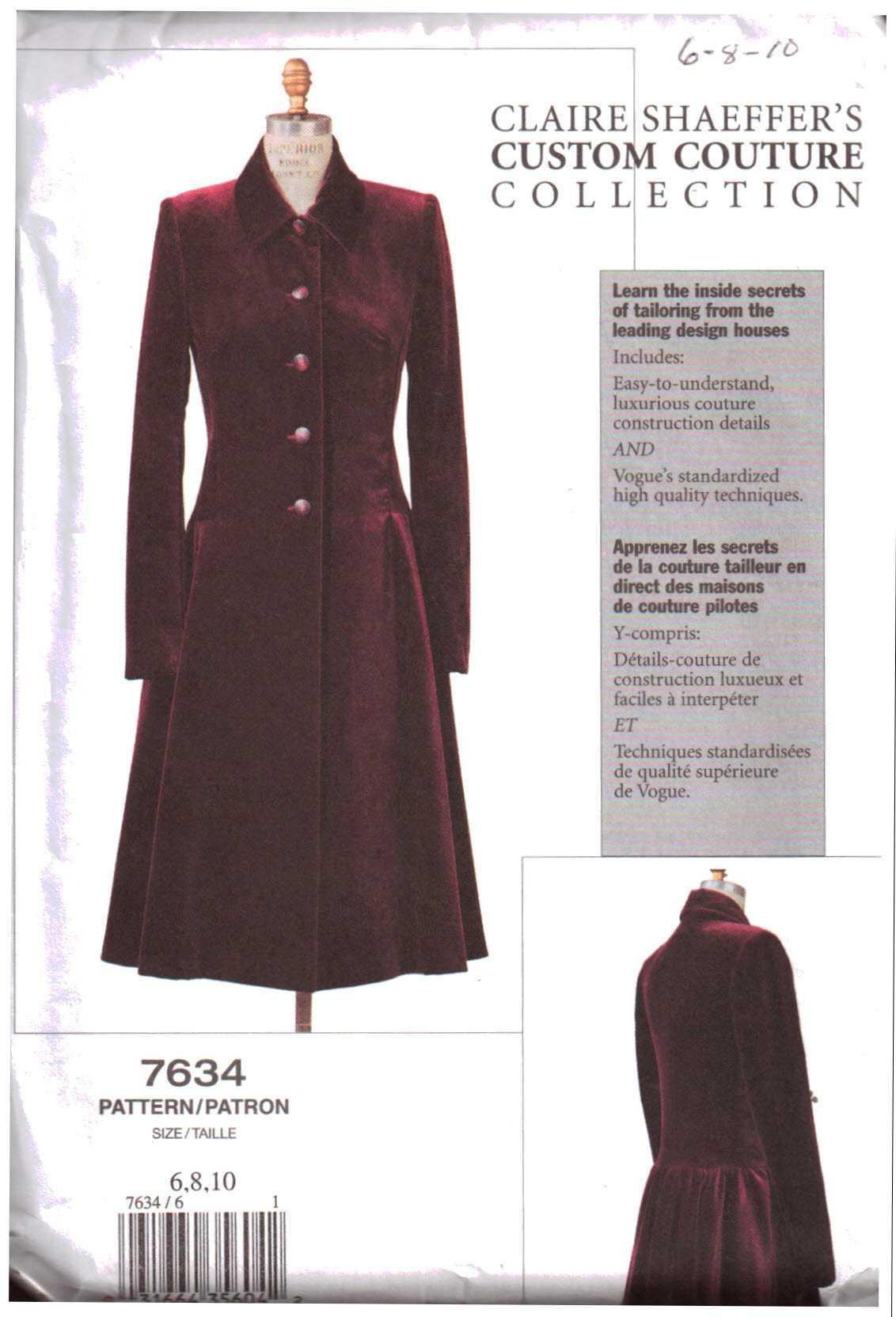 Vogue V8346 PATTERN Misses//Misses Petite Coats Size 6-22 BN