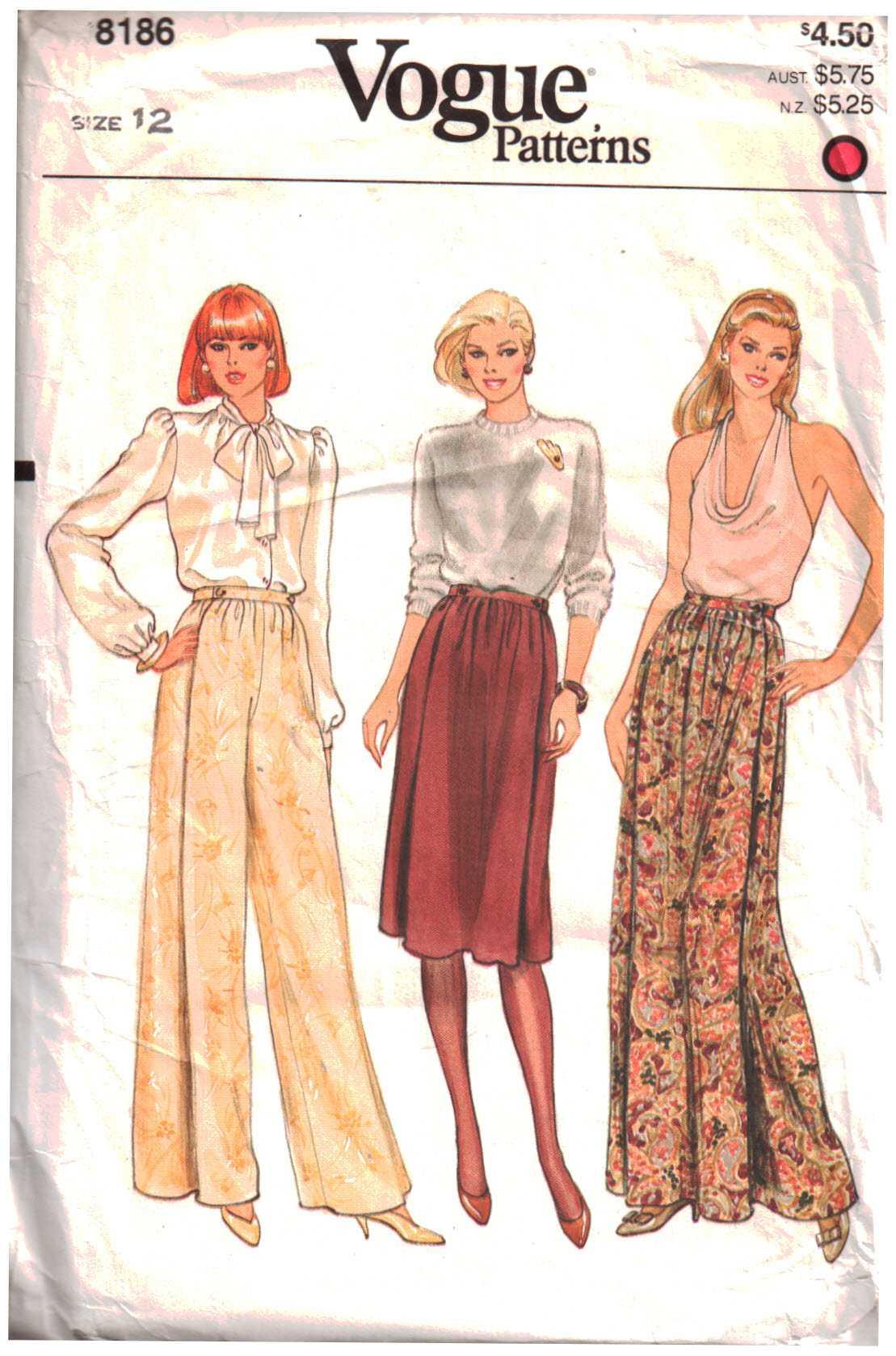 Vogue 8186 Misses\' Skirt, Pants Size: 12 Uncut Sewing Pattern