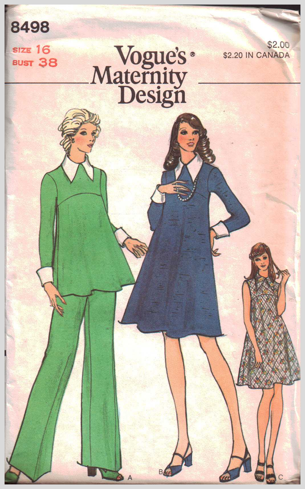 2b6e5ab8f Vogue 8498 Misses' Maternity Dress, Tunic and Pants Size: 16 Bust 38 Sewing  Pattern