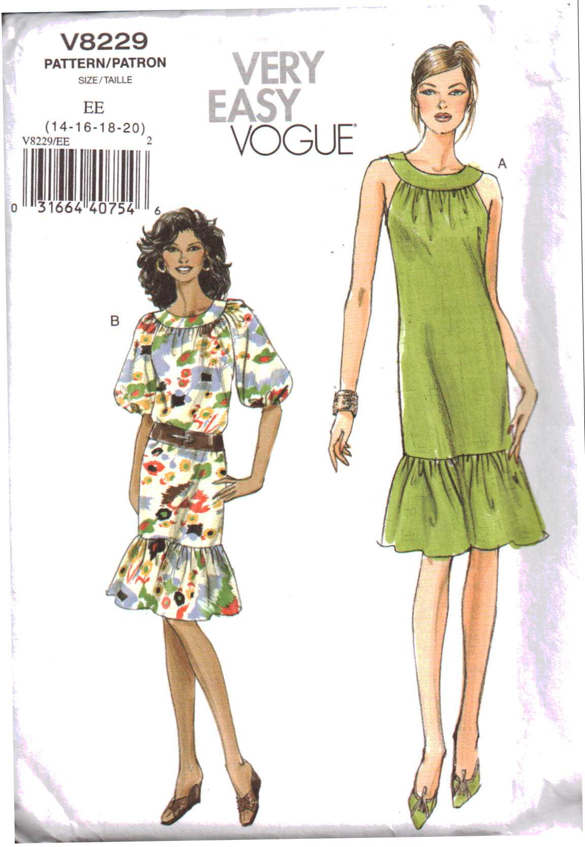 cd6a098b7 Vogue V8229 Misses' / Misses' Petite Dress Size: EE 14-16-18-20 Uncut Sewing  Pattern