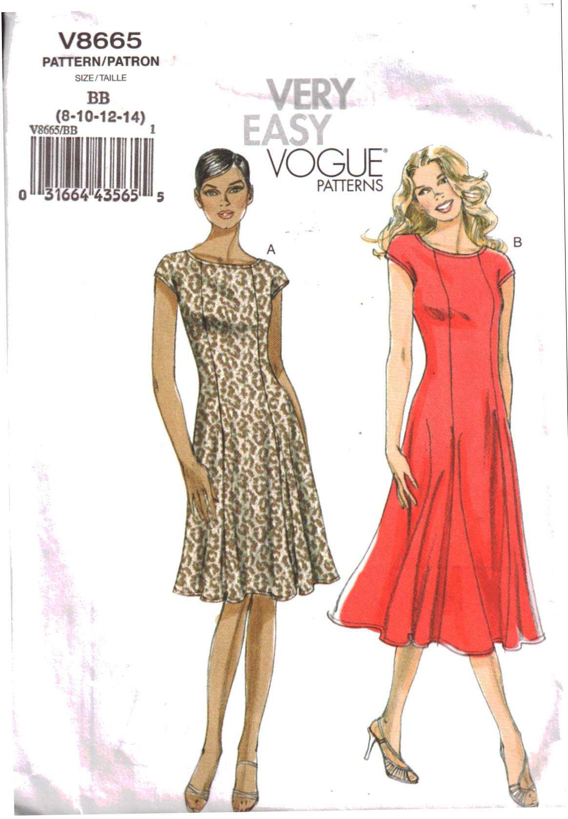 ab334f2b7 Vogue V8665 Misses'/Misses' Petite Dress Size: BB 8-10-12-14 Used Sewing  Pattern