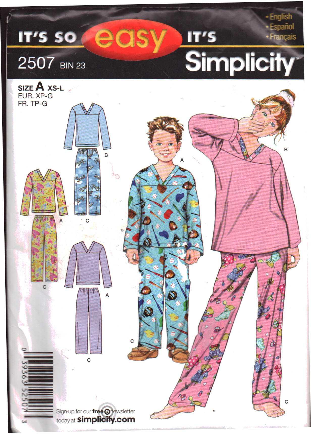 Simplicity 2507 Girl's, Boy's Pajamas Pants, Tops Size: A XS-L Uncut Sewing  Pattern
