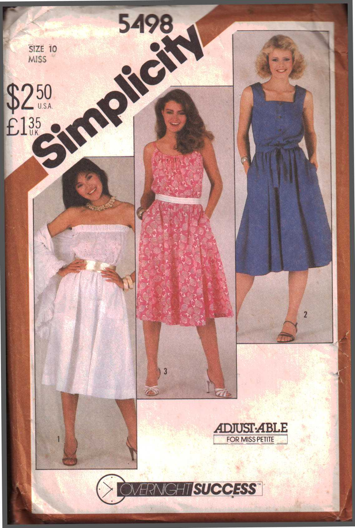 used See /& Sew 5498 Pattern Vintage