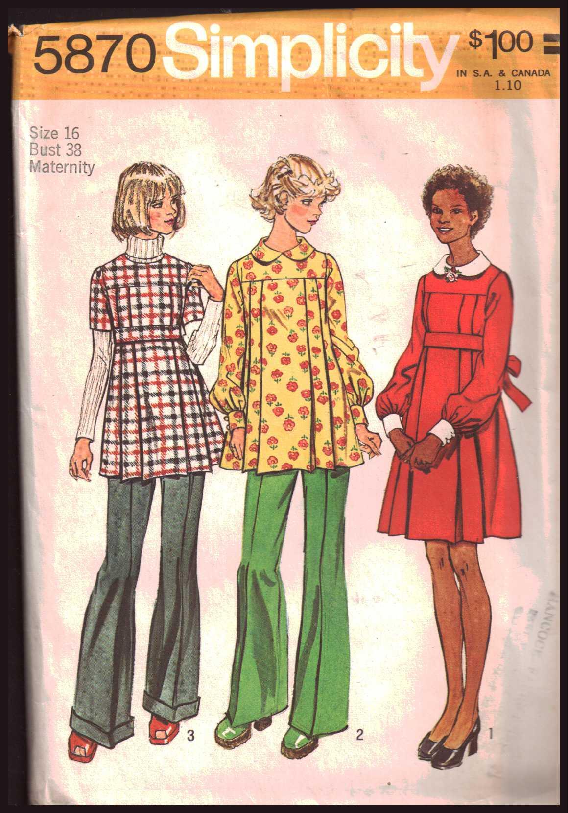 ecb9864220516 Simplicity 5870 Maternity Dress, Tunic Size: 16 Bust 38 Uncut Sewing ...
