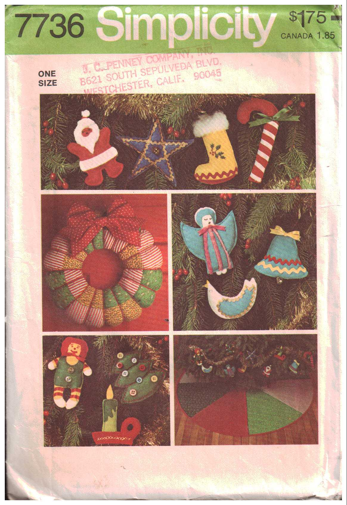 Simplicity 7736 Christmas Decorations – Tree Skirt, Wreath, Ornaments Size: One Used Sewing Pattern