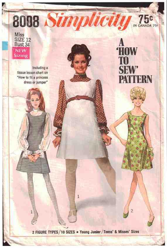 Size 14 Bust 34 Vintage 1960 Simplicity Pattern 1708