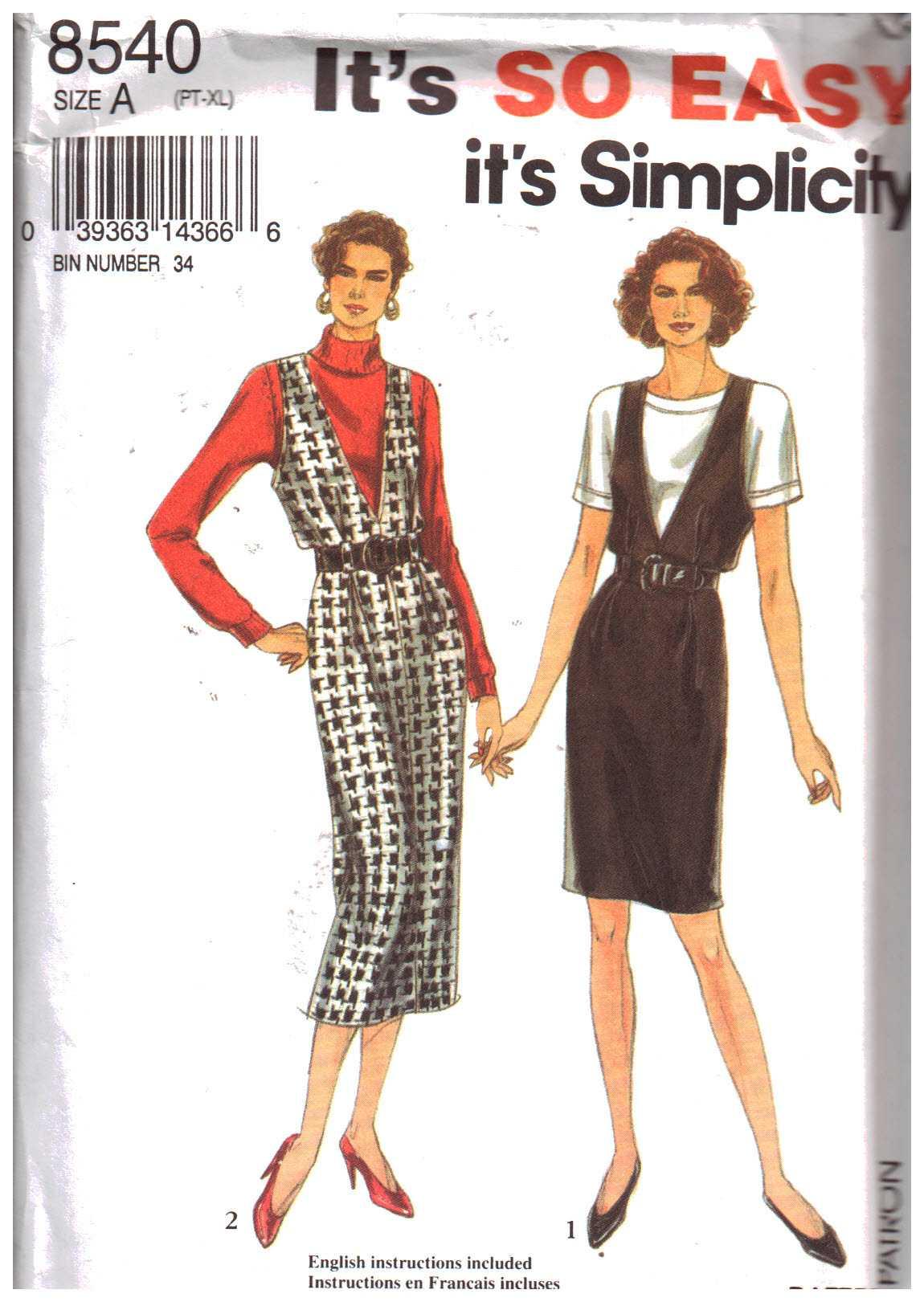 Simplicity 8540 Sewing Pattern CUT Vintage