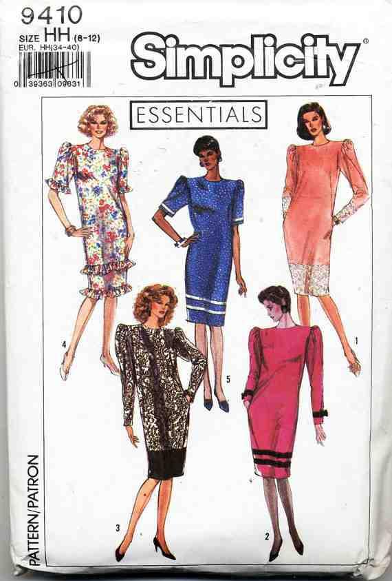 Simplicity 9410 Dresschemise With Trim Variations Size Rr 14 20