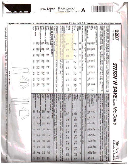 McCalls 2287 M 1