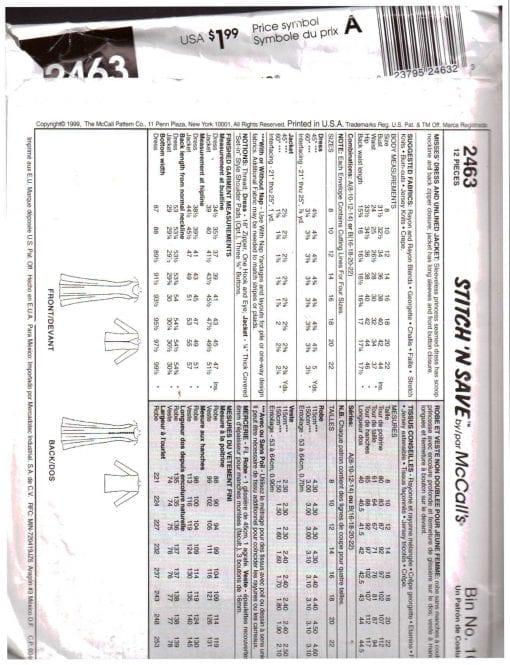 McCalls 2463 Z 1