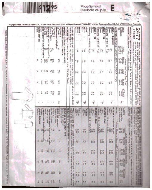 McCalls 2477 Y 1