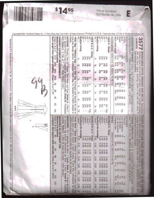 McCalls 3577 M 1