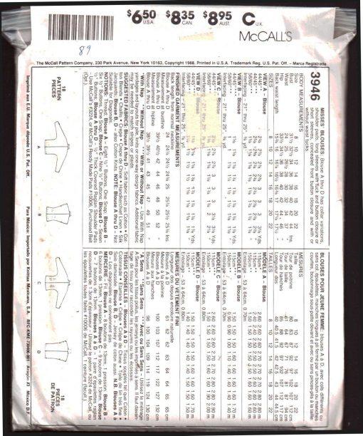 McCalls 3946 M 1