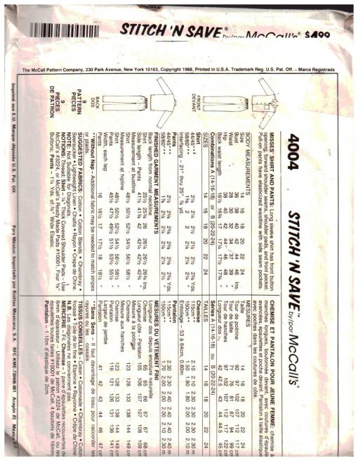 McCalls 4004 M 1