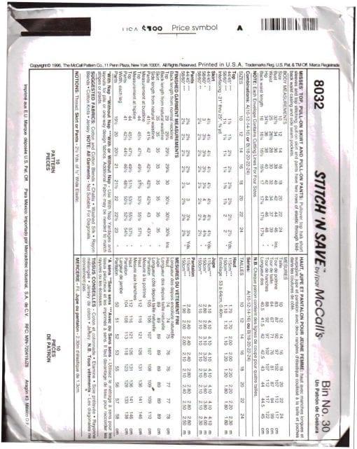 McCalls 8032 M 1