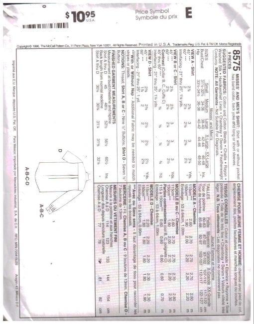 McCalls 8575 M 1