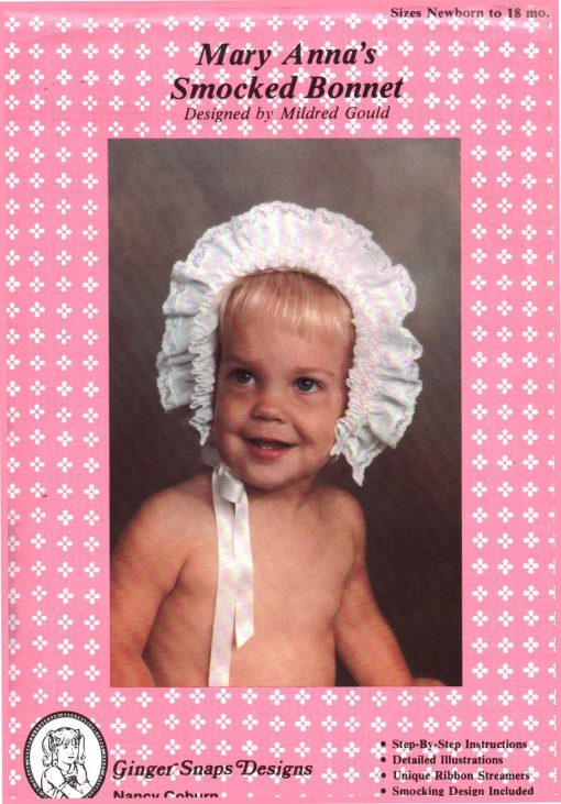 Ginger Snaps Designs Mary Annas Smocked Bonnet