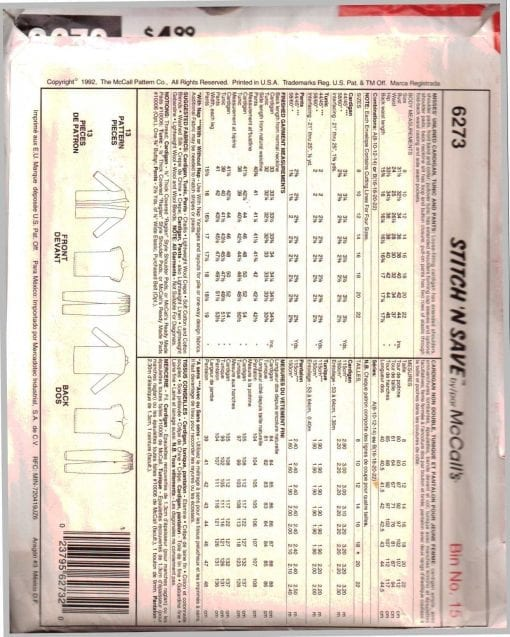 McCalls 6273 J 1
