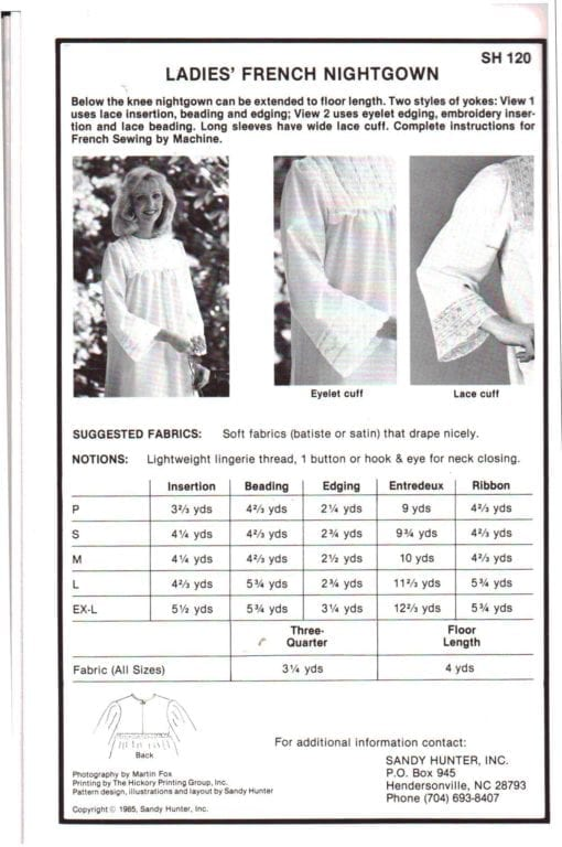 Sandy Hunter Ladies French Nightgown 1