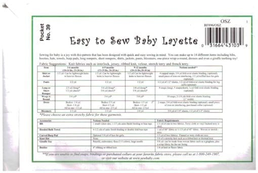 Sew Baby Baby Layette 1