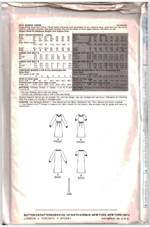 Butterick 3012 J 1