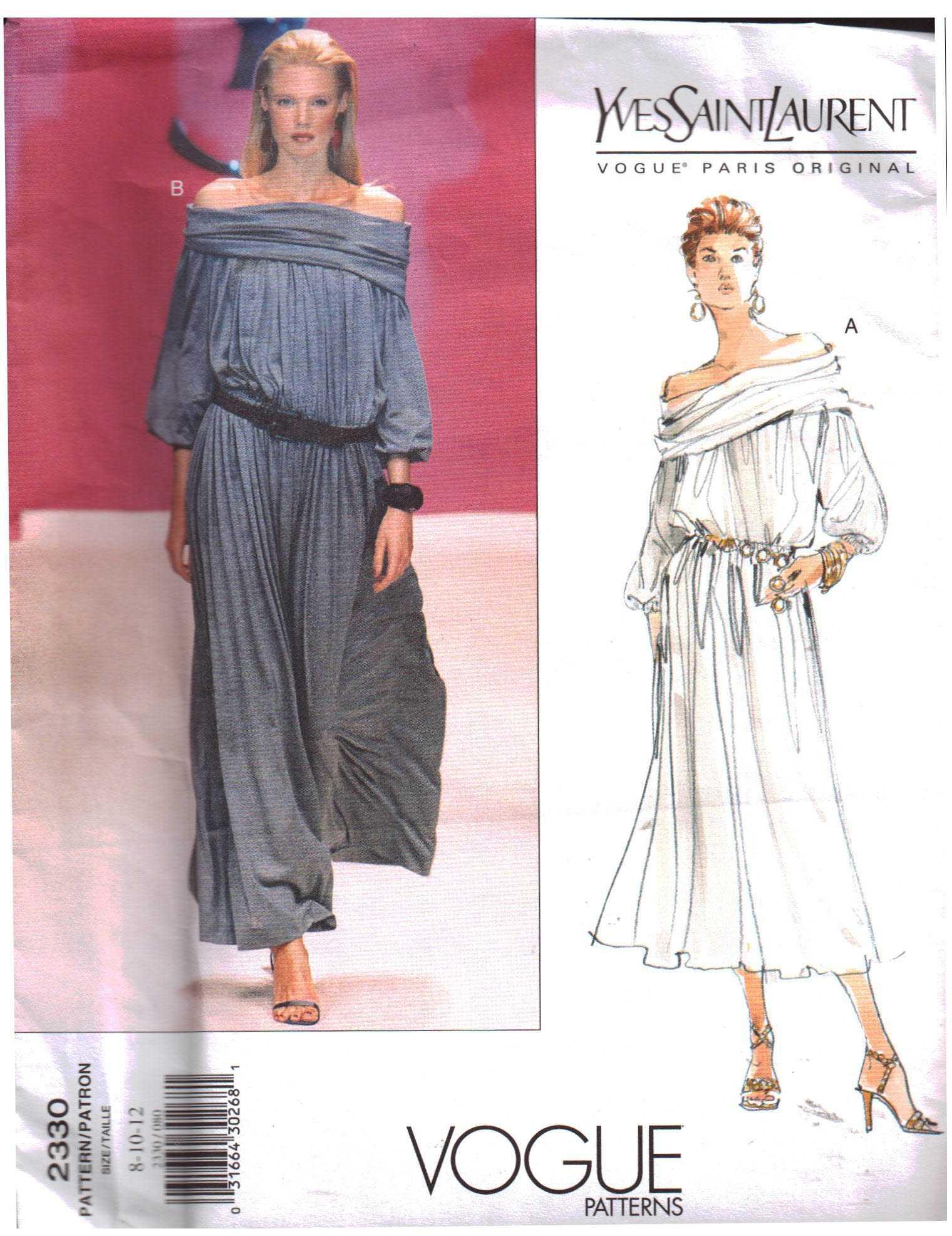 6d795945fec Vogue 2330 Dress by Yves Saint Laurent Size: 8-10-12 Uncut Sewing Pattern