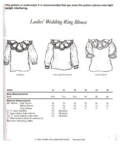 Cheryl Williams Pattern Ladies Wedding Ring Blouse O 1