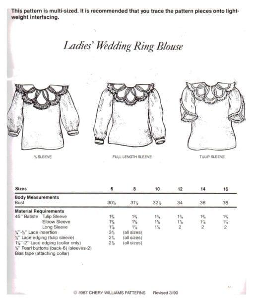 Cheryl Williams Pattern Ladies Wedding Ring Blouse O 1