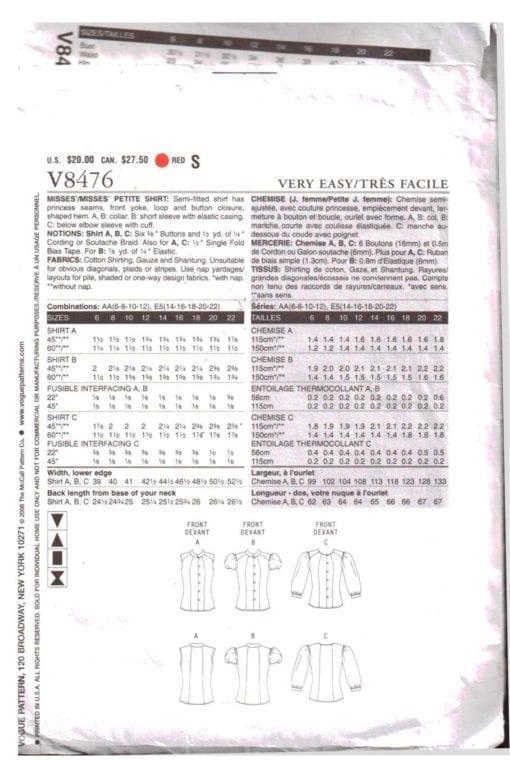 Vogue V8476 O 1