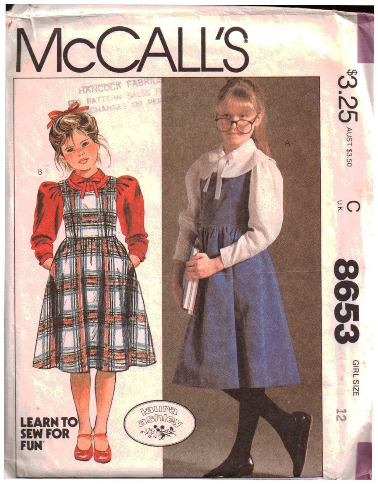 58cf61958ed5 McCall's 8653 Girl's Jumper, Blouse Size: 12 Uncut Sewing Pattern
