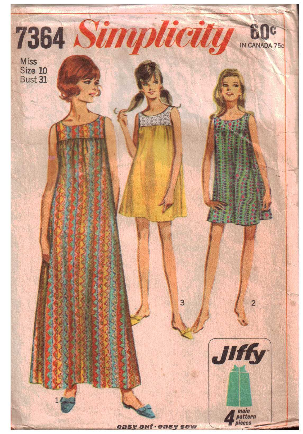Simplicity 7364 Nightgown Size: 10 Bust 31 Used Sewing Pattern