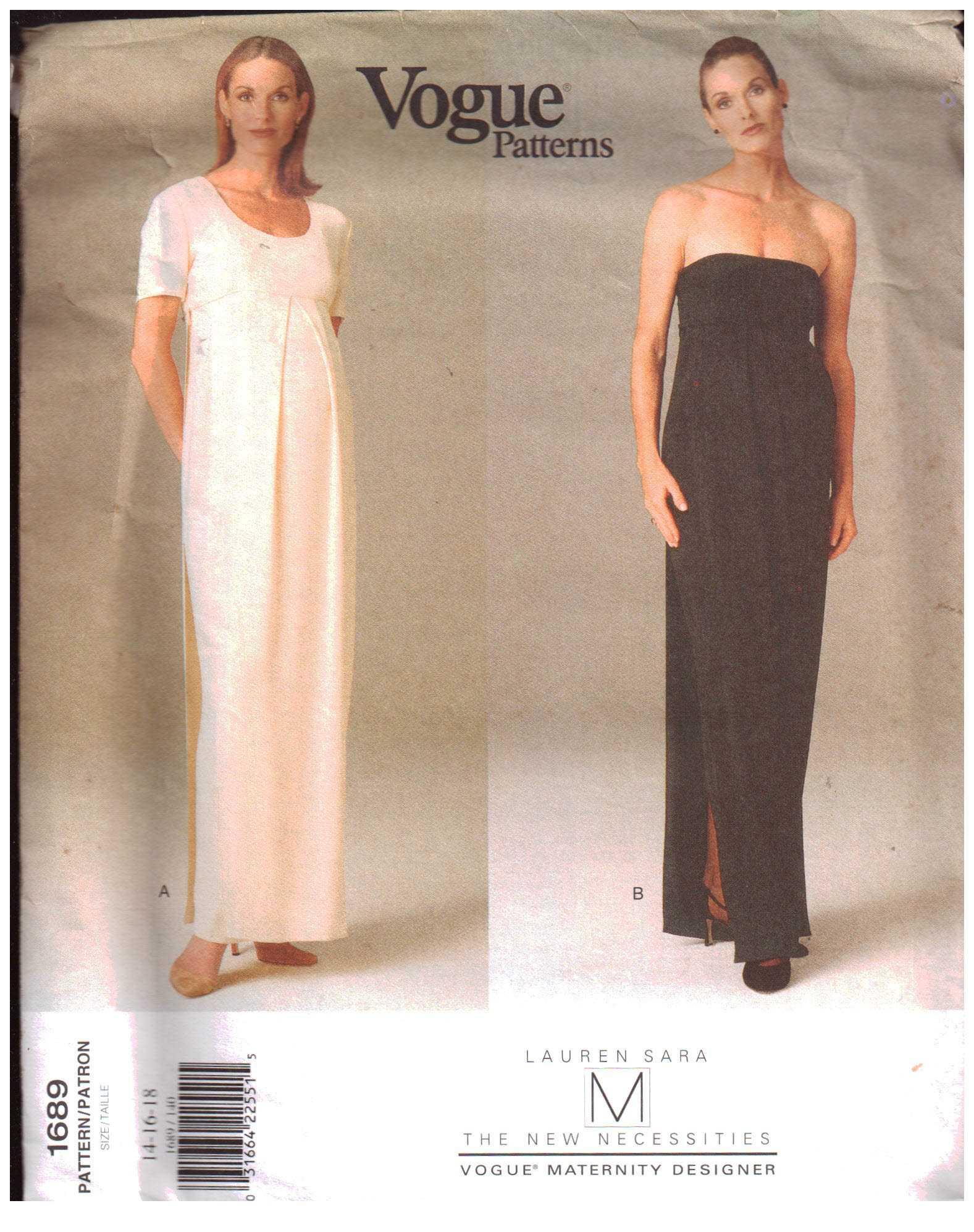 ee7de885c73e3 Vogue 1689 Maternity Dress by Lauren Sara Size: 14-16-18 Uncut Sewing  Pattern