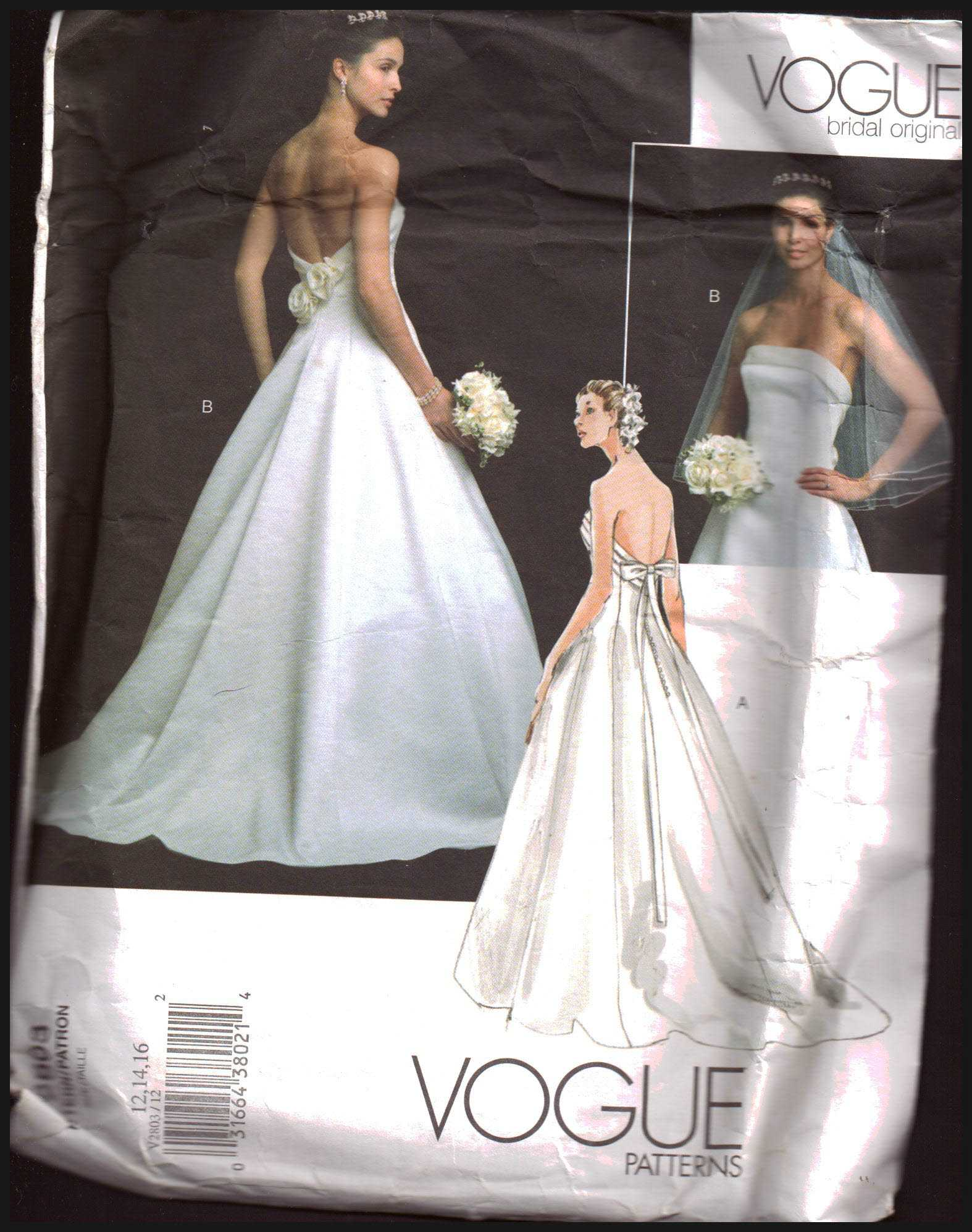 Vogue V2803 Bridal Dress Size 12 14 16 Used Sewing Pattern