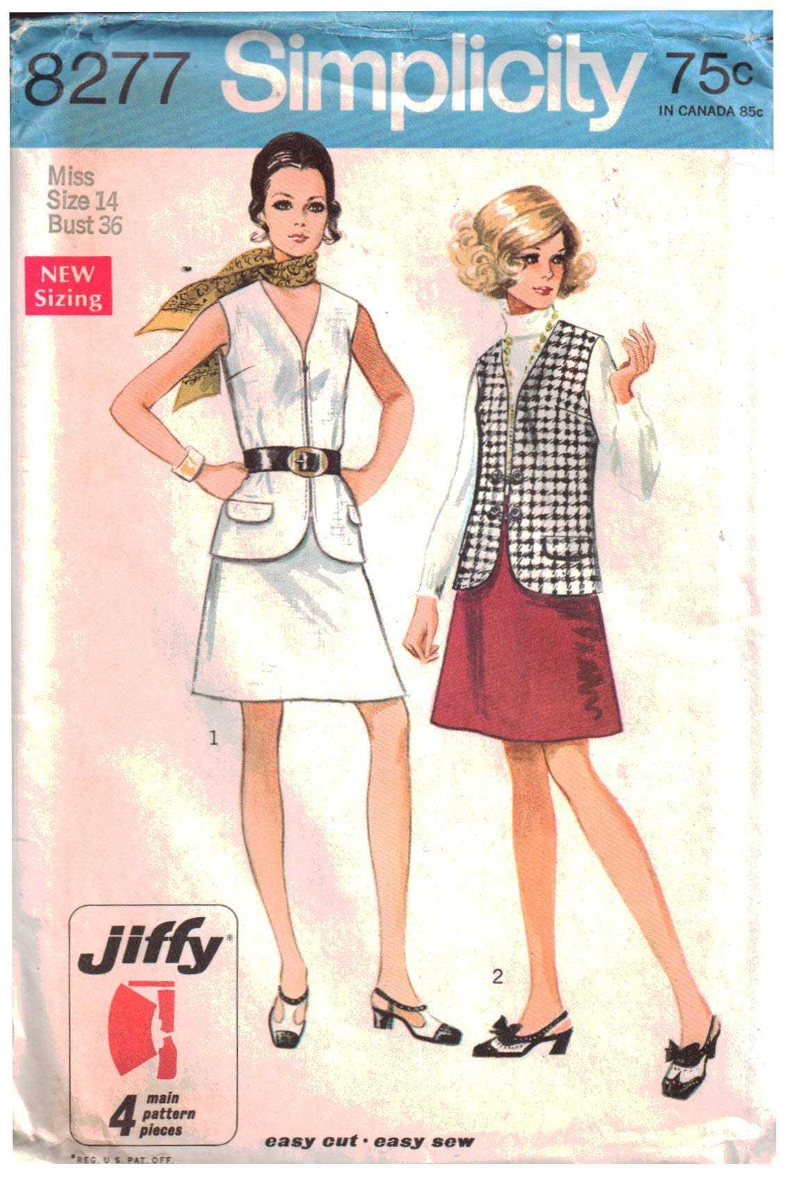 Simplicity 8277 Vest, Skirt Size: 14 Bust 36