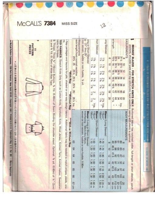 McCalls 7384 J 1