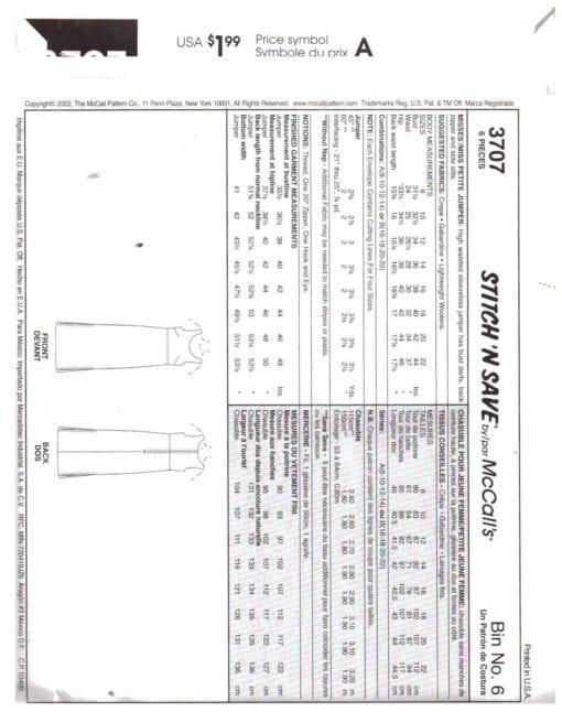 McCalls 3707 O 1