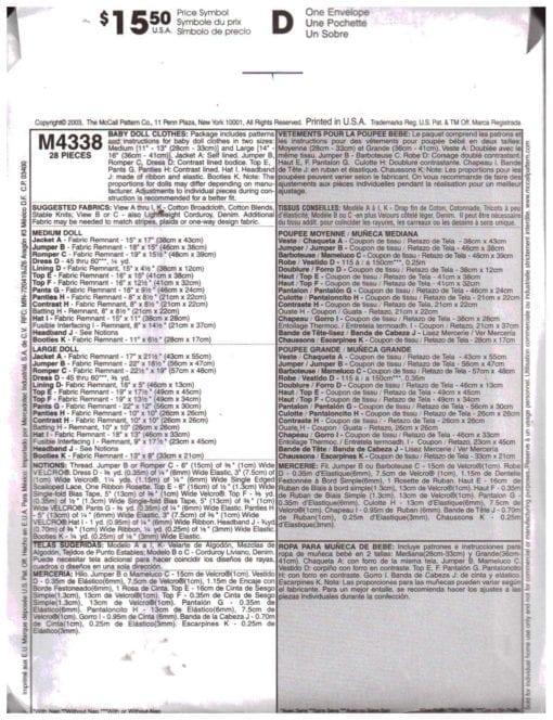 McCalls M4338 S 1