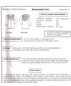 Park Bench Pattern Company 16 O 1