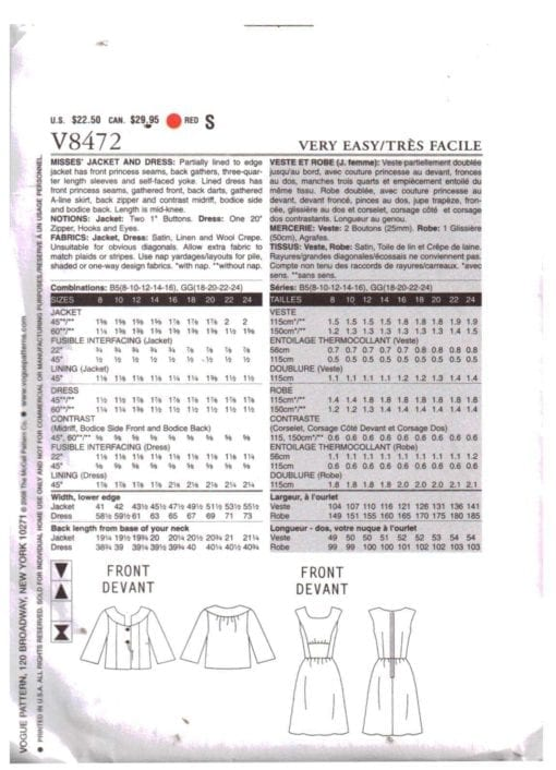Vogue V8472 S 1