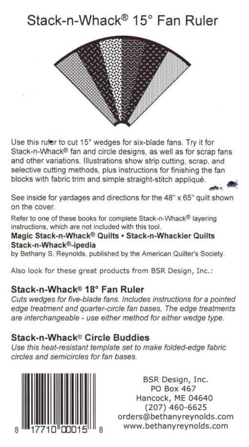 BSR Design Quilt Stack n Whack 15 Fan Ruler 1
