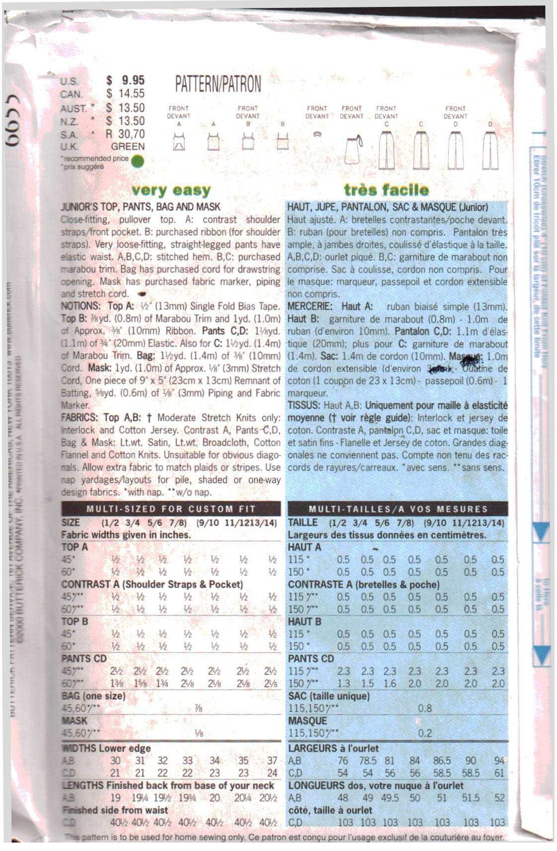 Instrucciones en ingl/és, franc/és y alem/án BUTTERICK B5880 Patr/ón de Costura para Confeccionar Vestido de Mujer