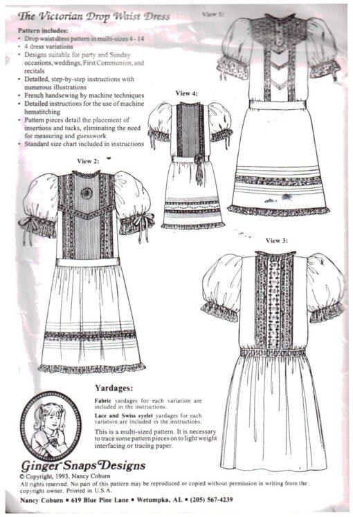Ginger Snaps Designs The Victorian Drop Waist Dress A 1