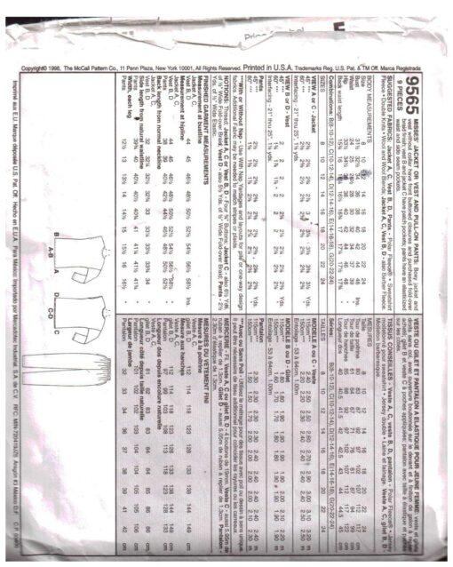 McCalls 9565 J 1