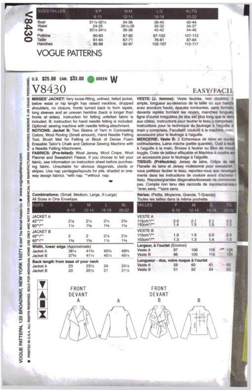 Vogue V8430 1